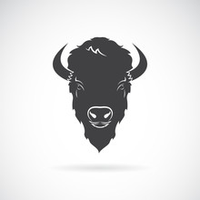 Vector Of A Buffalo Head Design On White Background. Wild Animals.