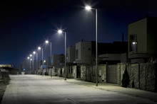 Empty Night Street In Resident...