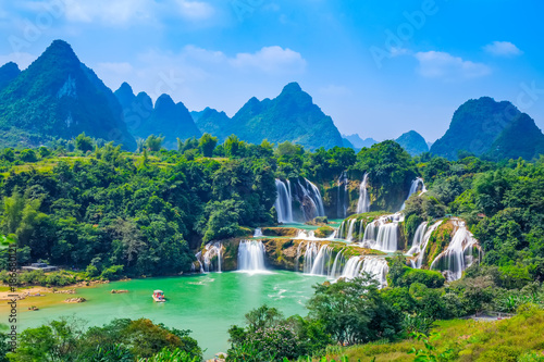 Aluminium Prints Forest river Landscape Waterfall