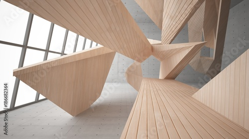 Plakaty do przedpokoju  abstract-concrete-and-wood-interior-multilevel-public-space-with-window-3d-illustration-and-rendering