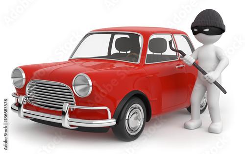 Deurstickers Oude auto s 3d Männchen Autodiebstahl