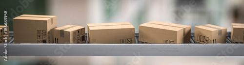 Fotomural  Förderband mit Pakete