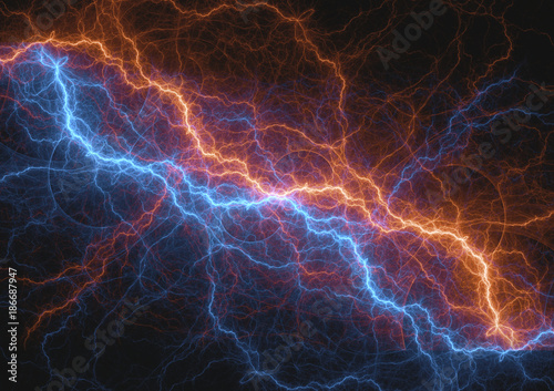 Photo Fire and ice lightning bolt, Fractal energy background
