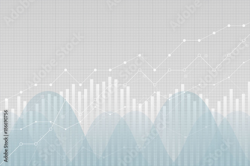 Financial statistics data graph, vector illustration. Trending lines, columns, graphic chart elements. Uptrend growth information.