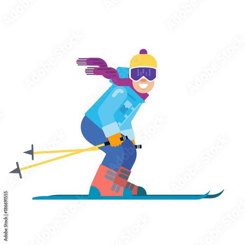 Fotografie, Tablou Cartoon skier isolated