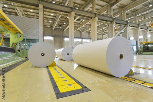 Fotografie, Obraz  Papierrollen in einer Papierfabrik - Verarbeitung von Altpapier // Paper rolls i