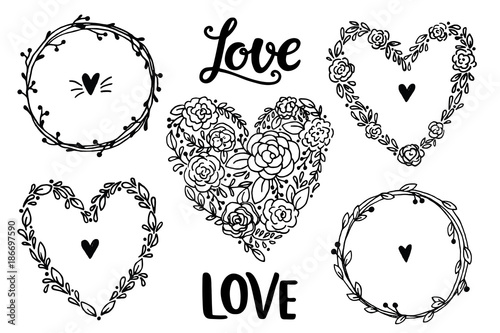 Hand Drawn Rustic Vintage Heart Wreaths Floral Vector Collection
