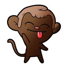 Funny Cartoon Monkey Waving