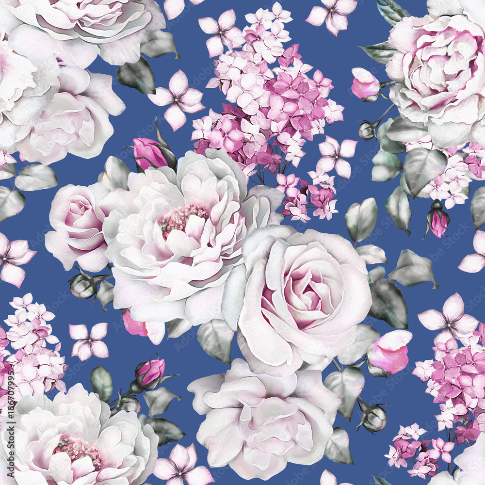Wall Murals Seamless Pattern With Flowers And Leaves On Navy Blue