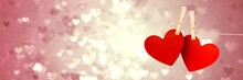 Valentines Hanging Love Hearts And Love Hearts Background