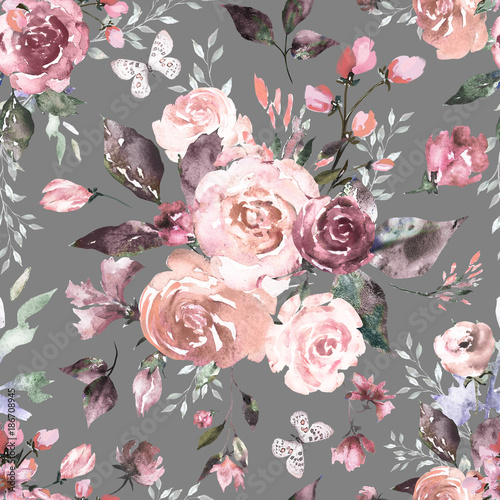 Seamless pink floral pattern - photo#46