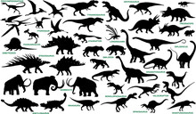 Prehistoric Animals Vector Silhouettes Collection