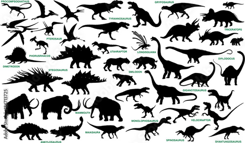 Fotografia, Obraz prehistoric animals vector silhouettes collection