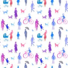 Seamless Pattern Of A People.W...