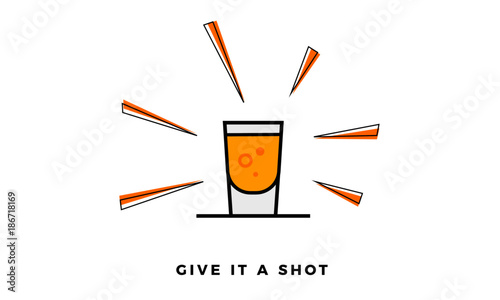 Vector illustration of Shot Glass Icon isolated on Sunburst background Tapéta, Fotótapéta