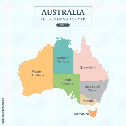 Australia Map Vector With States.Australia Map Full Color High Detail Separated All States Vector