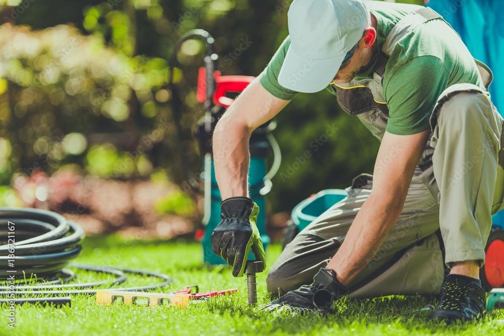 Fototapety, obrazy: Grass Sprinklers Installation