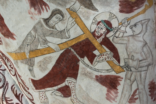 Fotografie, Obraz Jesus carrying the cross on via dolorosa, simon from cyrene helps him