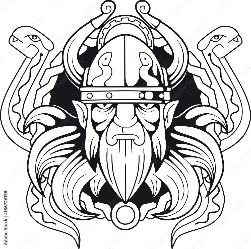 Fototapeta ancient Scandinavian god  of deception Loki