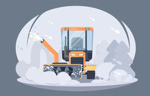 Process Of Snow Removal From Road. Winter Highway Service. Flat Vector Illustration. Snow Grooming Machine