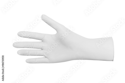 White rubber glove spotless cleaning isolated white Canvas Print