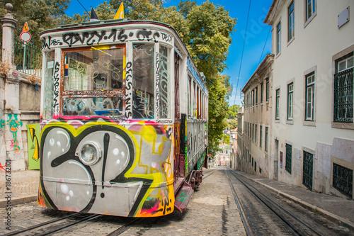 Spoed Foto op Canvas Mediterraans Europa Portugal Lisbon one of city elevator trams