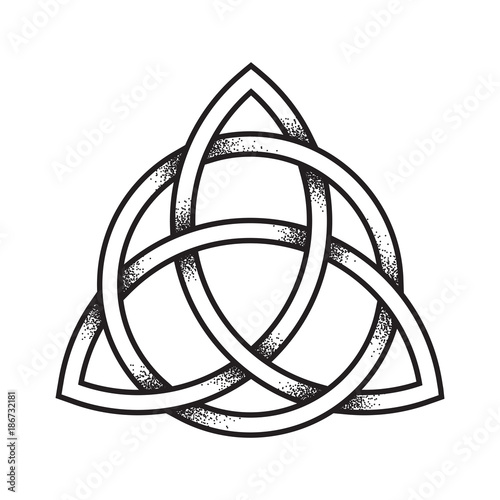 Triquetra or Trinity knot  Hand drawn dot work ancient pagan