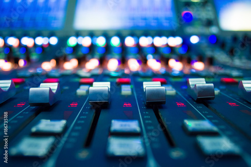 Fotografija detail of a music mixer in studio dj working for new tracks music production wit