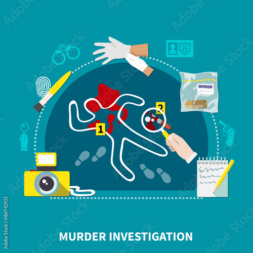 Detective Flat Composition Canvas Print