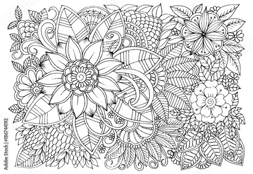 - Black And White Flower Pattern For Adult Coloring Book. Doodle Floral  Drawing. Art Therapy Coloring Page. Printable Card - Buy This Stock Vector  And Explore Similar Vectors At Adobe Stock Adobe Stock