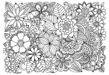 Doodle floral drawing. Art therapy coloring page.