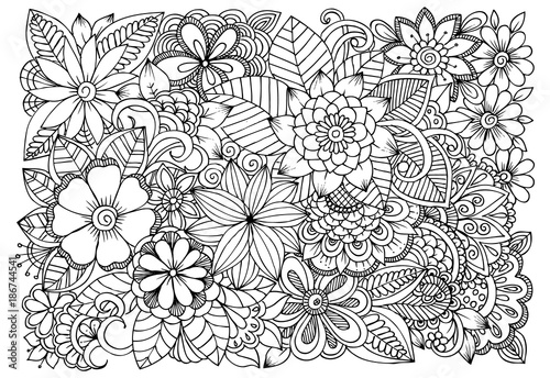 Fotografie, Obraz  Doodle floral drawing. Art therapy coloring page.
