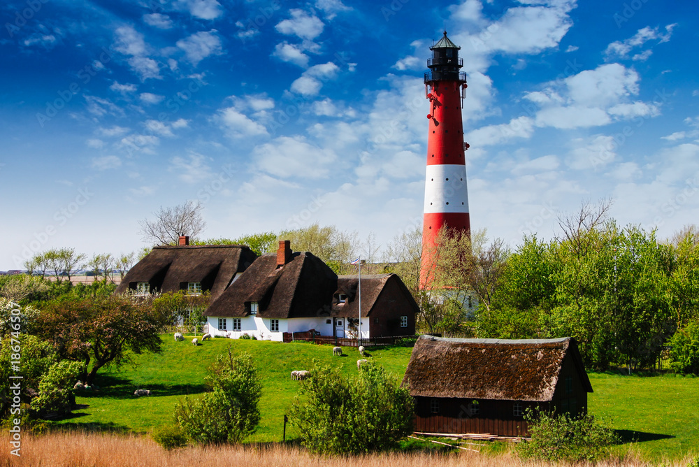 Fototapety, obrazy: Friesische Idylle mit Leuchtturm, Schafen und Reetdächern
