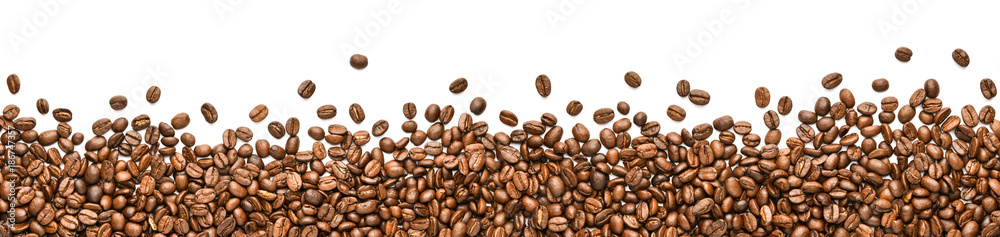 fresh coffee beans on wide white background