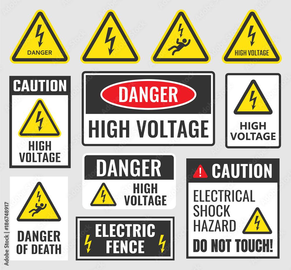 Fototapeta high voltage sign set, danger label vector illustration