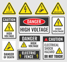 High Voltage Sign Set, Danger ...