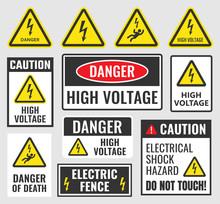 High Voltage Sign Set, Danger Label Vector Illustration