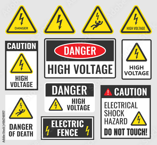 Fototapeta high voltage sign set, danger label vector illustration