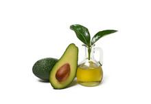 Avocado Oil With Fruits Around...