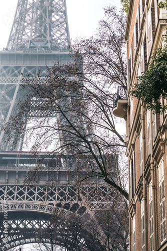 Deurstickers Eiffeltoren Low angle view of Eiffel tower in city