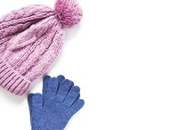 Winter Clothes/ Light Pink Knitted Hat And Woolen Blue Gloves. Mock-up For A Blog Or Website. Free Space For Text