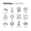 Paintball game line icons. Outdoor sport equipment, paint ball marker, uniform, mask, chest protection. Extreme leisure thin linear signs.