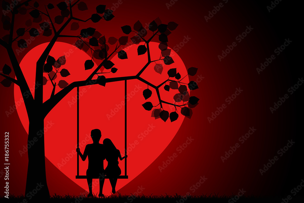 Fototapeta Romantic silhouette of loving couple sitting on a swing under a tree on a background of the moon in the shape of a heart. Valentines Day Card. Happy Lovers. Vector illustration