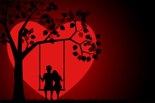 Romantic Silhouette Of Loving Couple Sitting On A Swing Under A Tree On A Background Of The Moon In The Shape Of A Heart. Valentines Day Card. Happy Lovers. Vector Illustration