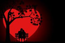 Romantic Silhouette Of Loving ...
