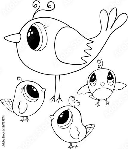 Papiers peints Cartoon draw Cute Birds Vector Illustration Art