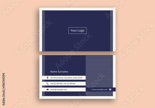 Navy blue business card layout with white stripes buy this stock navy blue business card layout with white stripes colourmoves Gallery