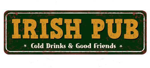 FototapetaIrish pub vintage rusty metal sign