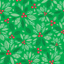 Vector Mint Green Holly Berry ...