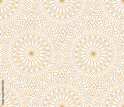 Fotomural  Abstract floral line oriental tile pattern. Arabic ornament